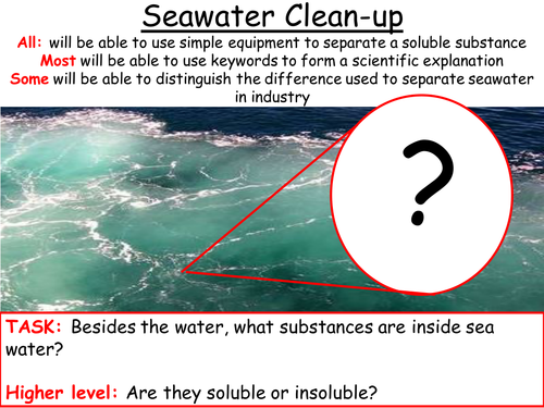 Seawater clean-up: Using Evaporation to separate salt from Water