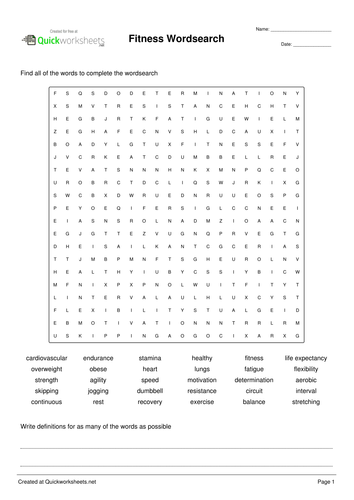 Physical Education Fitness Wordsearch Teaching Resources