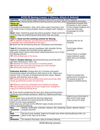 GCSE Boxing Lessons