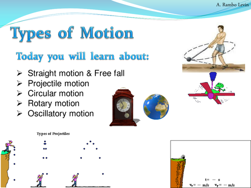 types of motion physics by teacher rambo teaching resources tes. Black Bedroom Furniture Sets. Home Design Ideas