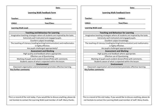 Learning Walk Feedback Form By Marcbernard77 Teaching Resources Tes