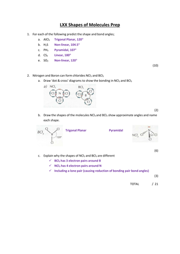 AS Chemistry Shapes of Molecules Full lesson