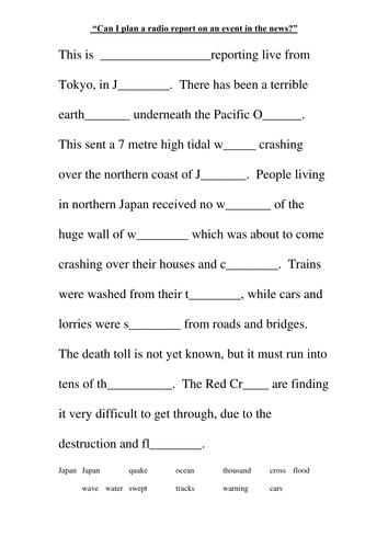 Natural Disaster Reporrt Template By Ljj290488 Teaching