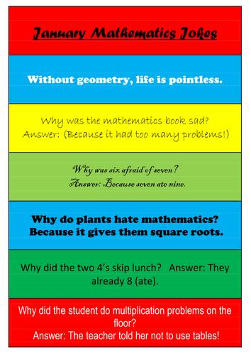 Maths Jokes - Set of 11 Posters - One a Month  - Math Jokes