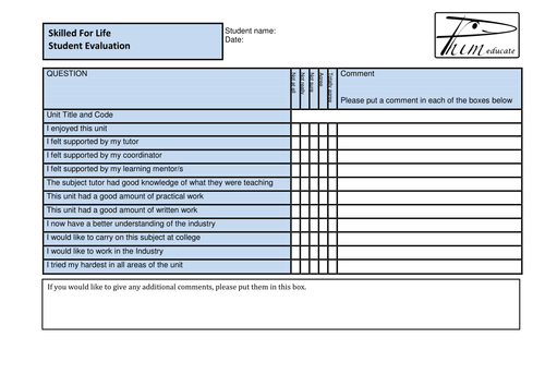 BTEC Skilled for Life Unit Student Evaluation Form for Centre Handbook