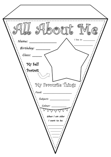 All About Me Bunting Worksheet By Pledly Teaching