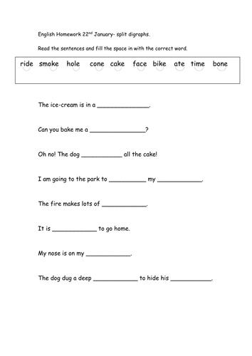 Split digraph (a-e, i-e and o-e) sentence work by MissEM85 ...