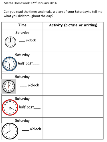 Time homework-Saturday Diary by MissEM85 - Teaching Resources - TES