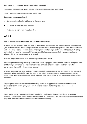 Rock School -Music Practitioner - 229 Music Rehearsal Skills AC1.1 a, b , d, e