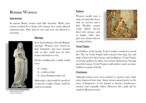 Roman Women - Non-Chronological Report