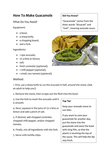 How To Make Guacamole - Instructions Example