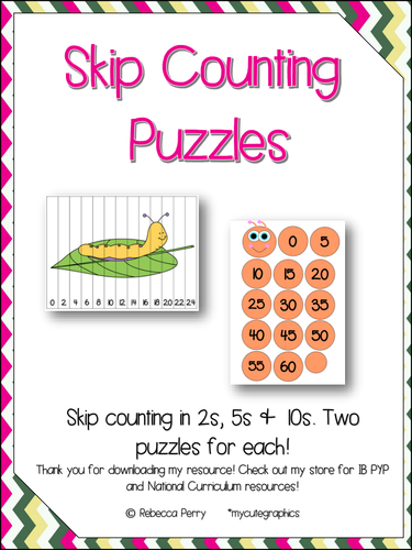 Counting in 2s 5s and 10s Puzzles - Two Puzzles - Math Activity to Practice Counting!