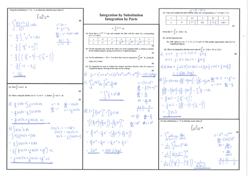 Core 4 - Integration by Substitution and Integration by Parts - Past Paper Questions