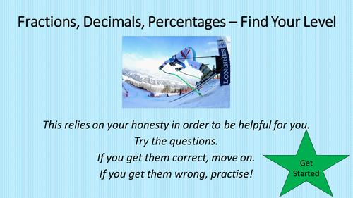 Fractions, Decimals, Percentages - Find Your Level