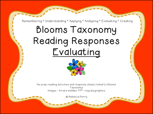 Blooms Taxonomy Reading Responses – 12 NO PREP activities for evaluating! Guided Reading!