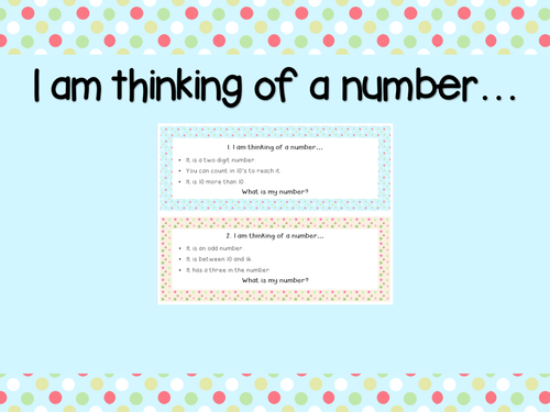 """Guess My Number – Math Activity– """"I Am Thinking of a Number"""" Cards - Problem Solving!"""