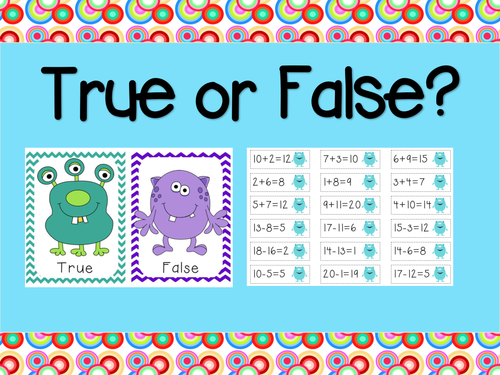 True or False – Math Activity – Sorting Addition and Subtraction (up to 20).