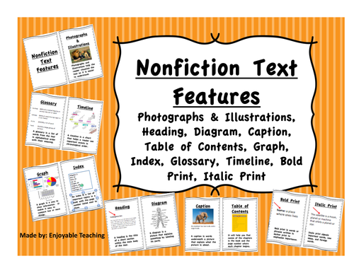 Nonfiction Text Feature Interactive Notebook Visuals or Student Mini Book