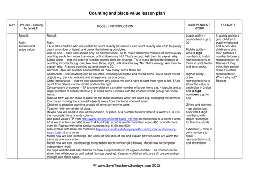 Place Value KS1 Worksheets Lesson plans and Activities by – Lesson Plan Worksheets