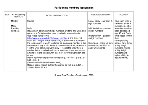partitioning numbers ks1 worksheets lesson plans and. Black Bedroom Furniture Sets. Home Design Ideas
