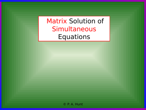 Matrix Solution of Simultaneous Equations 1 (A-Level Further Maths)
