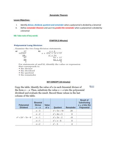 REMAINDER THEOREM - LESSON PLAN & NOTES