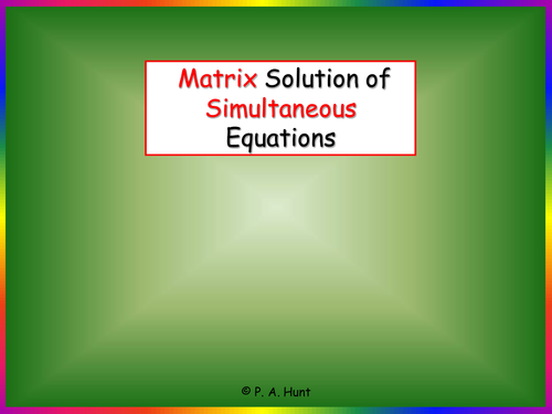 how to solve simultaneous equations matrix