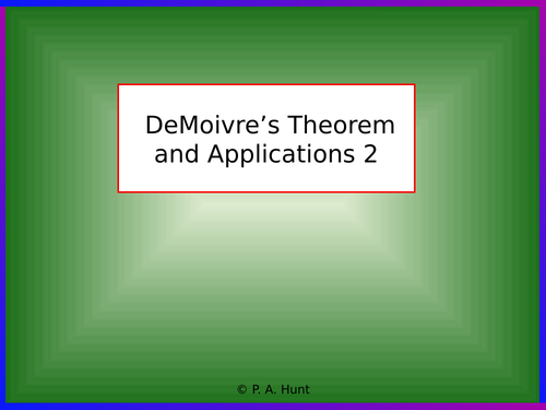 DeMoivre's Theorem and Applications 2 (A-Level Further Maths)