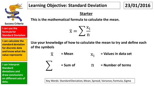 GCSE Statistics Standard Deviation by mikecraven Teaching – Standard Deviation Worksheet