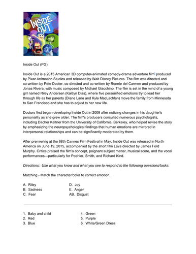 Movies 4 Social Studies - Inside Out - Emotions, Personality, & Behavior -  Psychology