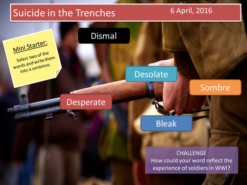 Suicide in the Trenches- Sassoon (3 lessons)