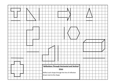 Reflection through vertical and horizontal lines by markebrey – Math Reflections Worksheets