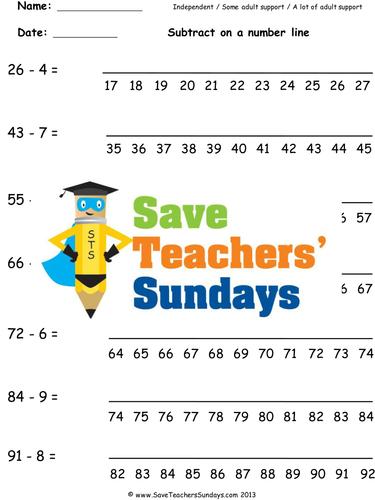 Number Line Subtraction KS1 Worksheets, Lesson Plans and ...