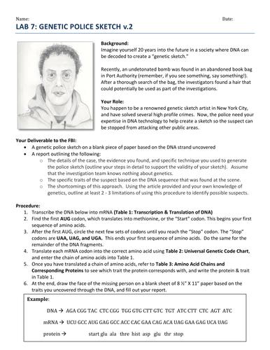 Genetic Police Sketch (High School) by psrivastava - Teaching ...