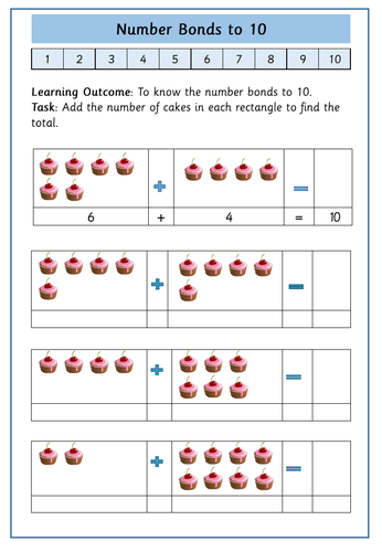 Number Bonds To 10 14 Differentiated Addition And Subtraction