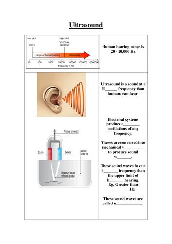 GCSE AQA Physics - Ultrasound, magnets, electromagnets, light & sound w/sheets (13 w/sheets)