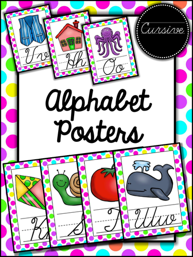 Neon Polka Dots Themed Cursive Alphabet Posters