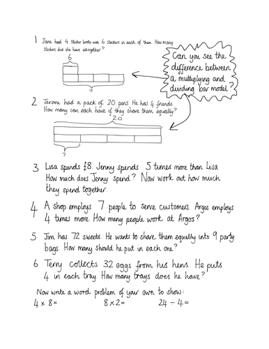 Year 3 Singapore Bar Model Word Problems By Jan1973 Teaching