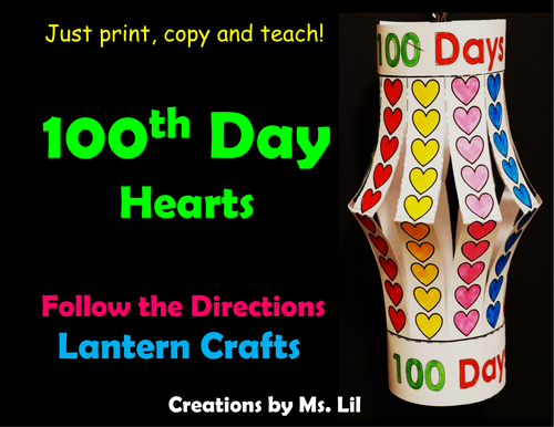 100th Day of School Craft  ::  100 Day Math  ::  100 Hearts