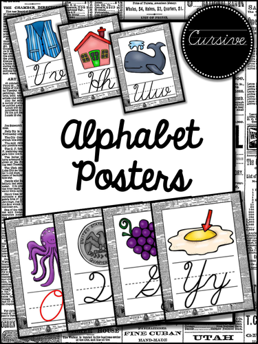 Newspaper Themed Cursive Alphabet Posters
