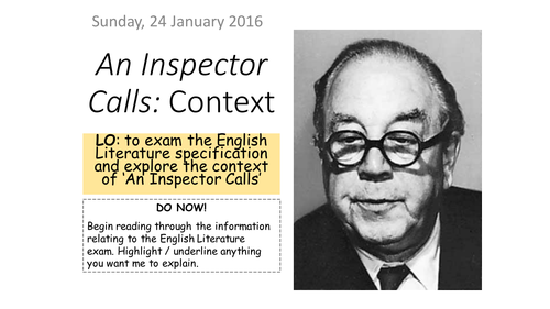 the inspector in an inspector calls english literature essay An inspector calls – model essay opener with lots of ao2 an inspector calls aqa aqa english literature english literature gcse model response.