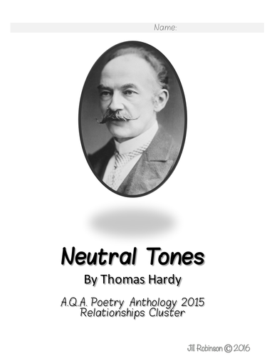 AQA Poetry Anthology - Neutral Tones - Activity Pack