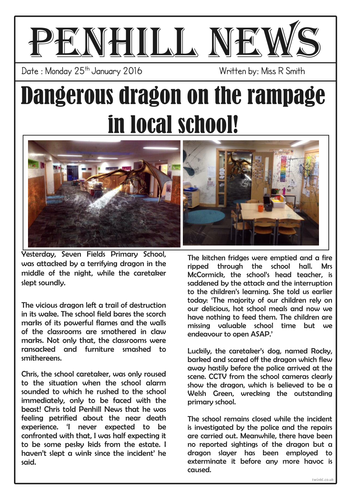 How to train your dragon by skybluedavid teaching resources tes dragon sighting newspaper report ccuart