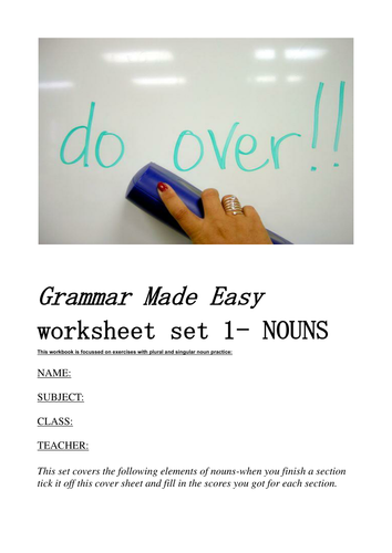 Grammar made easy-Booklet of activities for Nouns