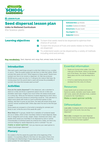 Seed Dispersal Lesson Plan