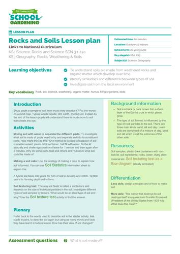 Rocks and Soils Lesson Plan