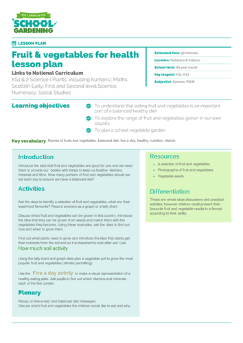 Fruit and Vegetables For Health Lesson Plan