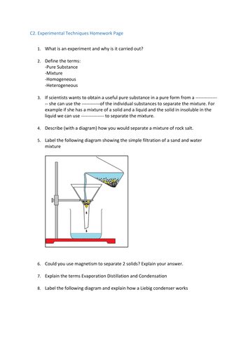 Experimental Techniques & Lab Equipment Worksheets