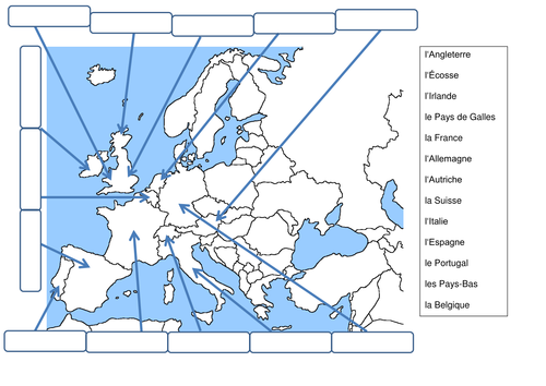 Label the countries in Europe