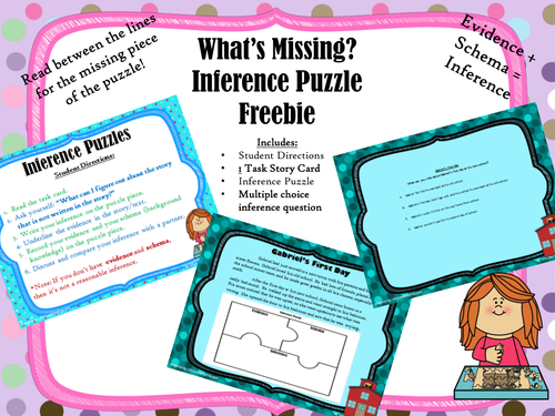 """""""What's Missing"""" Inference Puzzle Freebie"""